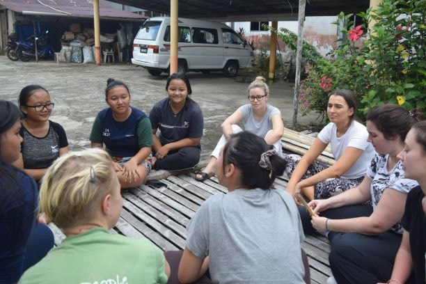 EWB students with local youths of Begu village with Backyard Tour Malaysia