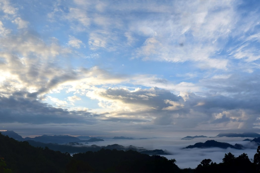 Watching sunrise from the viewpoint with Backyard Tour Malaysia
