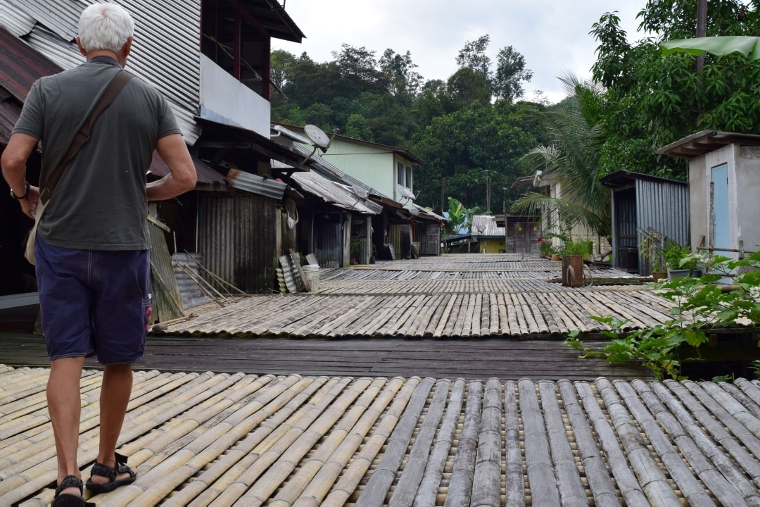 Walking around Annah Rais Longhouse where Karum Homestay is located